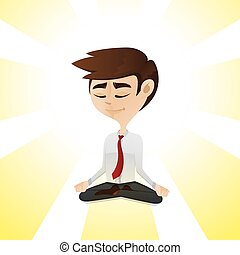 cartoon businessman relaxing by meditation in cross-legged...
