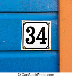 Number 34 - Enameled house number thirty four