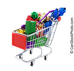 Gift shopping - a Shopping cart full of different presents...