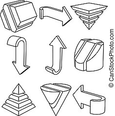 Geometric Shapes and Arrows, Vector Illustration - Set of 3D...