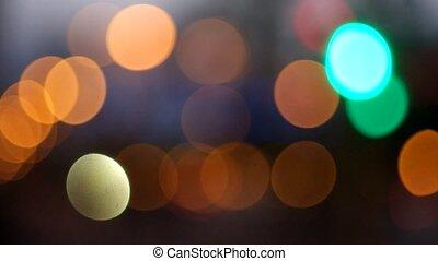 Street lights blurred footage.