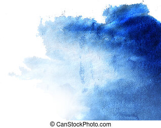 background - Abstract blue watercolor hand painted...