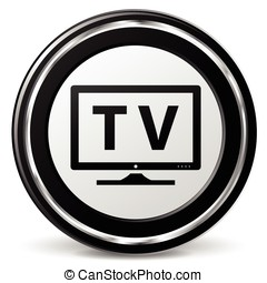 television icon - illustration of television black and...