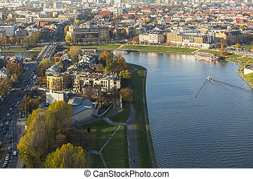 Top view of Vistula river in Cracow