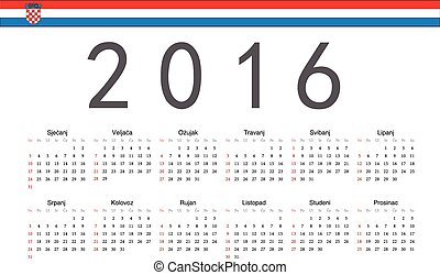 Croatian 2016 year vector calendar - Simple Croatian 2016...