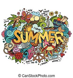 Summer hand lettering and doodles elements. Vector...