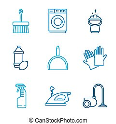 Cleaning Tools Icons in Flat Color Style - Cleaning tools...