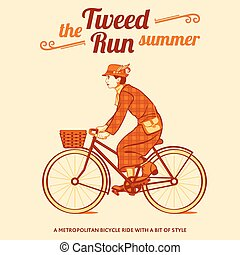 Tweed run poster - Tweed run retro cycling event poster