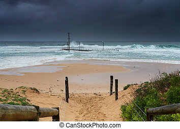 Mona Vale Rockpool in a 3 metre swell - Mona Vale rockpool...