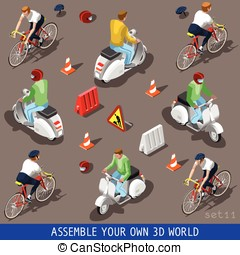 Isometric Flat 3d Vehicle Scooter Bicycle Set - Flat 3d...