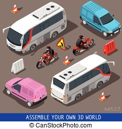 Isometric Flat 3d Vehicle Tourism Set - Flat 3d isometric...