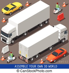 Isometric Flat 3d Vehicle Vespa Truck Set - Flat 3d...