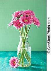 美麗, 粉紅色, Gerbera, 花, 花束, 在, 花瓶,