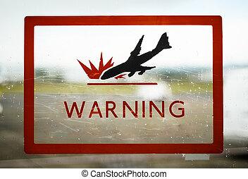 Airport Plane Crash Warning Sign