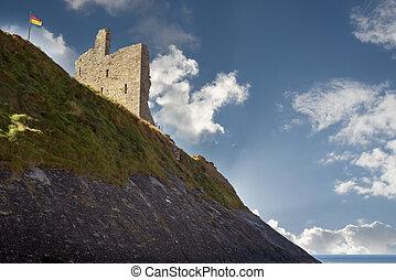 ballybunion castle on the cliff face - ballybunion castle...
