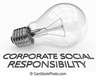 Corporate Social Responsibility - lightbulb on white...