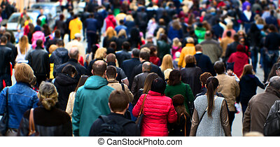 Street crowd - Crowd of people at the street, city center