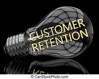 Customer Retention - lightbulb on black background with text...