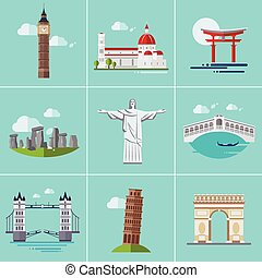 Vector illustration of Popular Sightseeing - Vector...