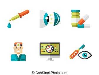 Optical Icons, Ophthalmology set, Vector
