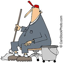 Janitor taking a break