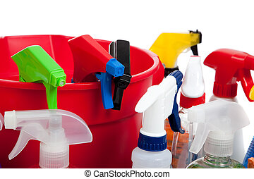 Cleaning supplies in a red bucket on white - Various...