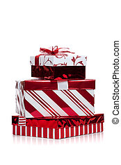 Red and white wrapped Christmas present on white - Red and...