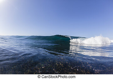 Wave Crashing Reef - Ocean wave hollow reef crashing blue...