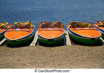 pédale, bateaux, côté, par,...