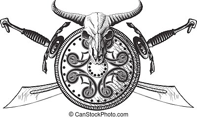 The emblem of the Viking - Emblem with a shield, a shield...