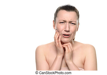 Crying young woman Suffering From Toothache - Close up Young...