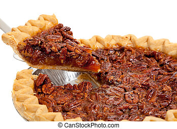 A whole pecan pie on white