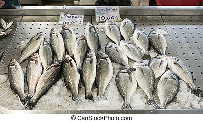 dorade fish - dead freh dorade fish on the market in...