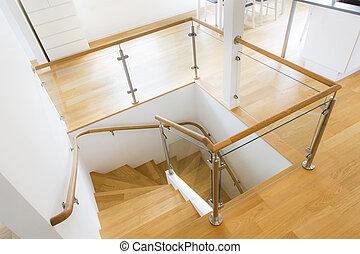 moderno, escalera,