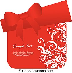 Red gift box card. Vector
