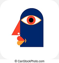 Bizarre creature vector illustration, cubism graphic modern...