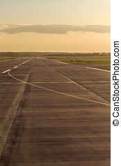 Airstrip at the airport - Empty runway at the airport, the...