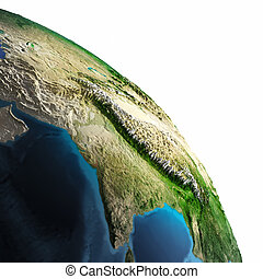Planet Earth white isolated. Elements of this image...
