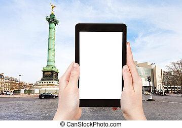 tourist photographs of Place de la Bastille Paris - travel...