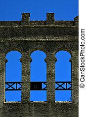 plaza de toros - old window and wall in plaza de toros...