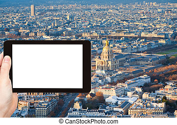 tourist photographs of panorama of Paris in winter