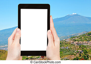 photo Etna volcano and gardens on sicilian hills - travel...