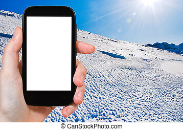 photo of blue cold snow on Alps mountain - travel concept -...
