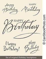 Birthday inscriptions - Set of original festive Birthday...