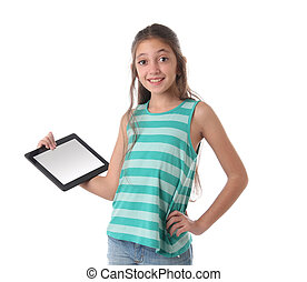 Beautiful pre-teen girl with a tablet computer. Isolated....