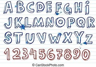 Hand drawing alphabet - Doodle hand written alphabet, unique...