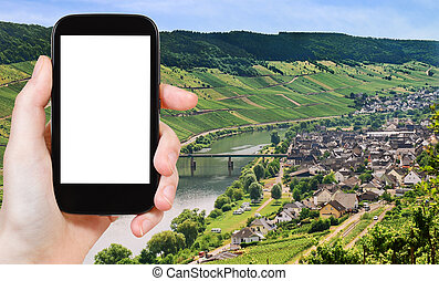 photograph Town Zell and Moselle river, Germany - travel...