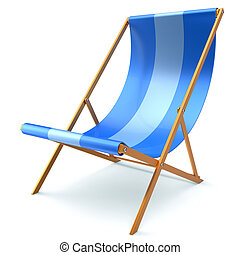 Beach chair chaise longue blue nobody relaxation icon -...