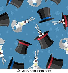 Rabbit in hat seamless pattern Vector background for magical...
