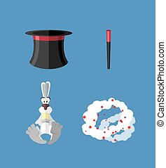 Set magician: wand, Topper and rabbit Vector icon